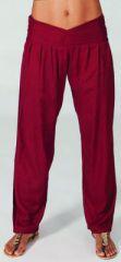 Pantalon femme taille basse Ethnique et Original Giulio Bordeaux 274707