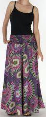 Pantalon Femme très Large Ethnique et Coloré Jorris Noir et violet 275469