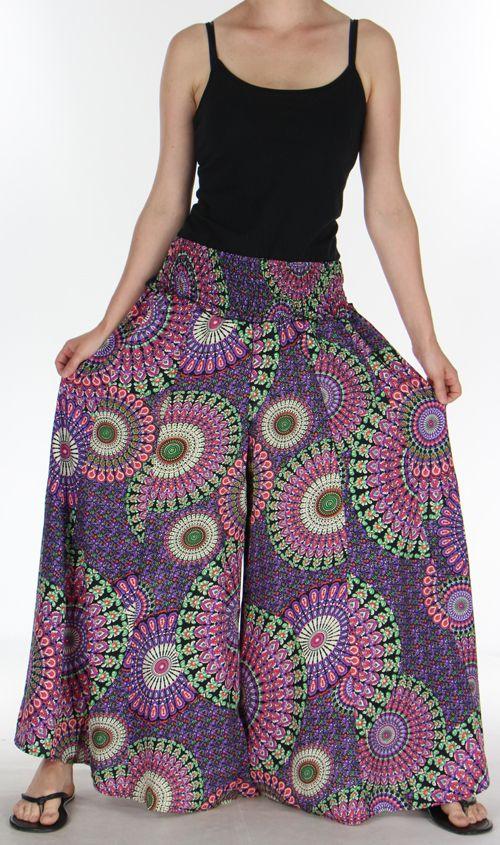 Pantalon Femme très Large Ethnique et Coloré Jorris Noir et violet 275470