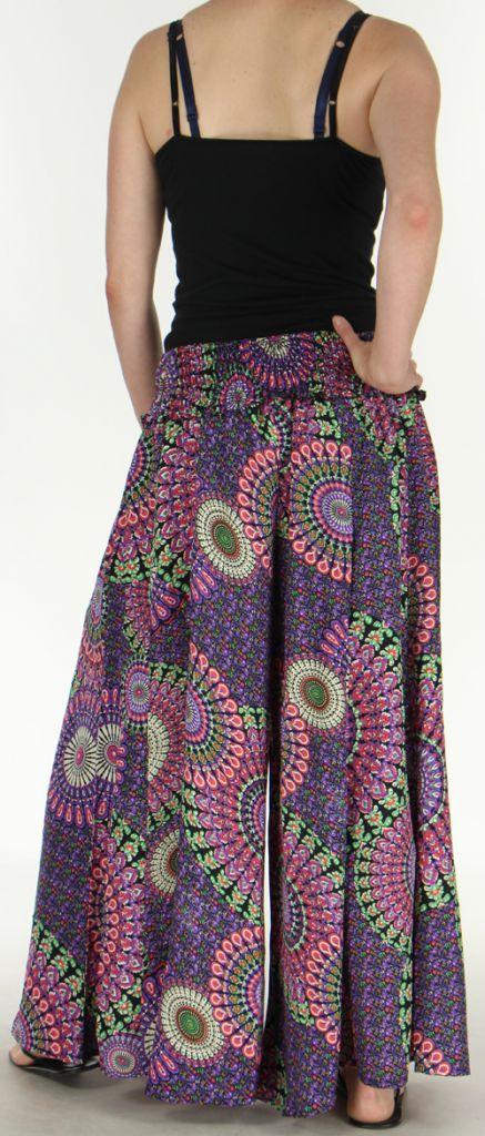Pantalon Femme très Large Ethnique et Coloré Jorris Noir et violet 275471