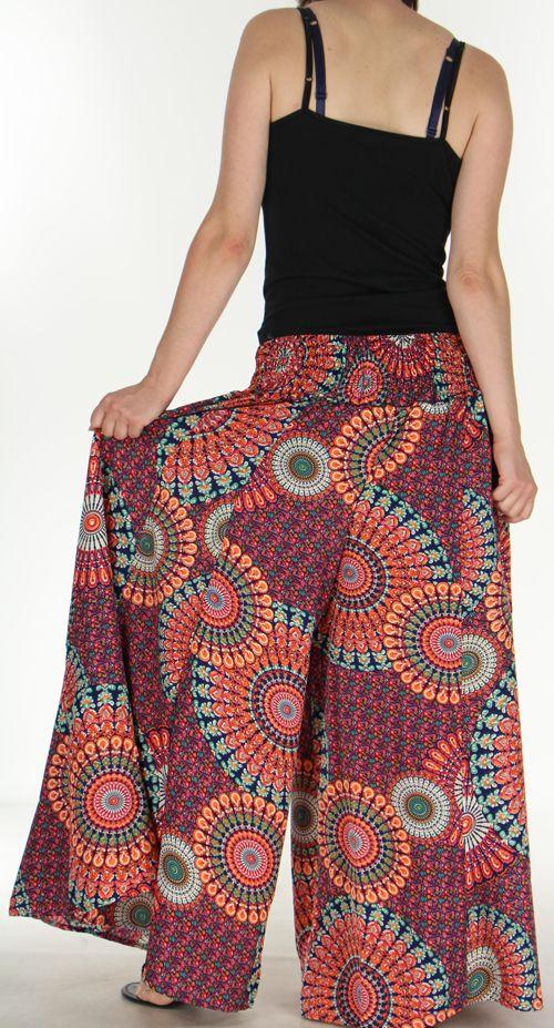 Pantalon Femme très Large Ethnique et Coloré Jorris Orange 275476