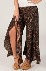 Pantalon femme Très Original et Fluide Antoine Noir à fleurs 284564