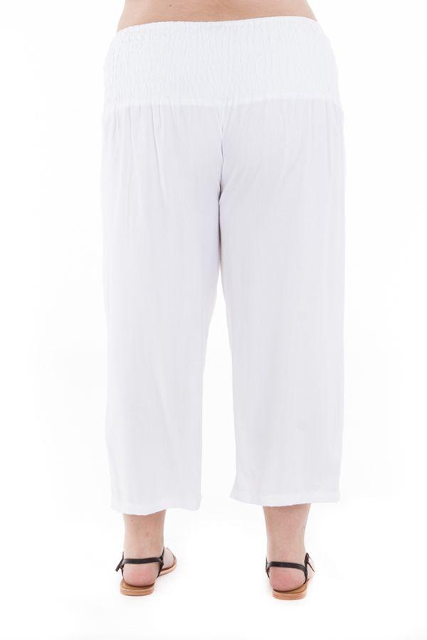 Pantalon femmes rondes  coupe 3/4 et smocké blanc Sully 295643