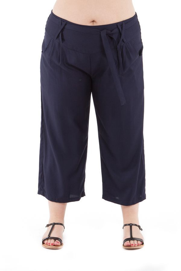 check-out 759a5 39b1d Pantalon femmes rondes confortable coupe 3/4 et smocké marine Sully