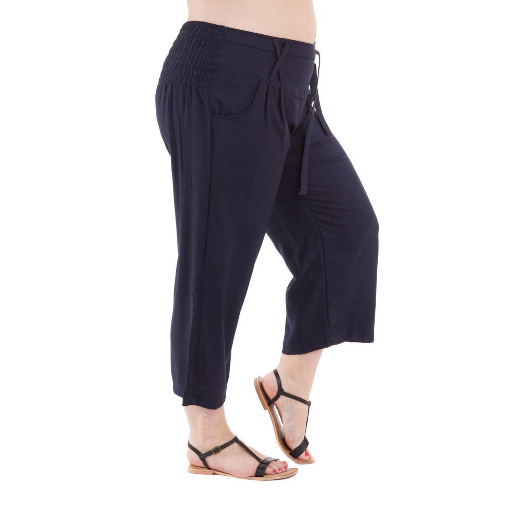 Pantalon femmes rondes confortable coupe 3/4 et smocké marine Sully 295648