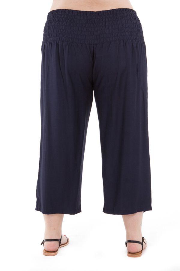 Pantalon femmes rondes confortable coupe 3/4 et smocké marine Sully 295649