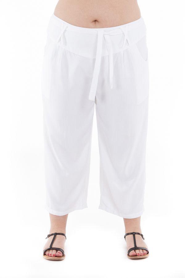 Pantalon femmes rondes coupe 3/4 et smocké blanc Sully 295641