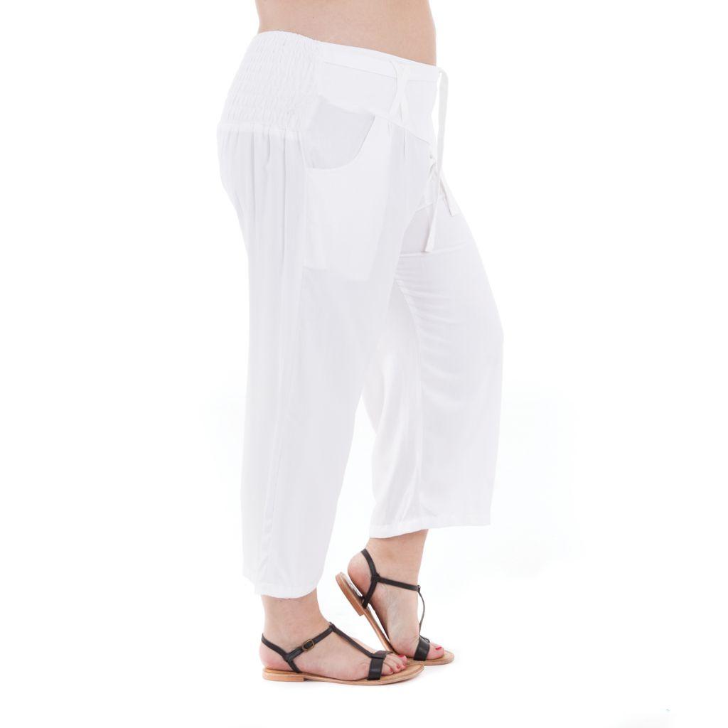 Pantalon femmes rondes coupe 3/4 et smocké blanc Sully 295642