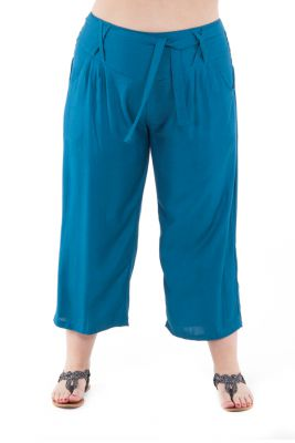 Pantalon femmes rondes coupe 3/4 et smocké petrole Sully 295653