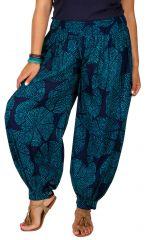 Pantalon fluide et élastiqué bleu grande taille Lynah 306648