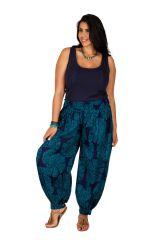 Pantalon fluide et élastiqué bleu grande taille Lynah 306649