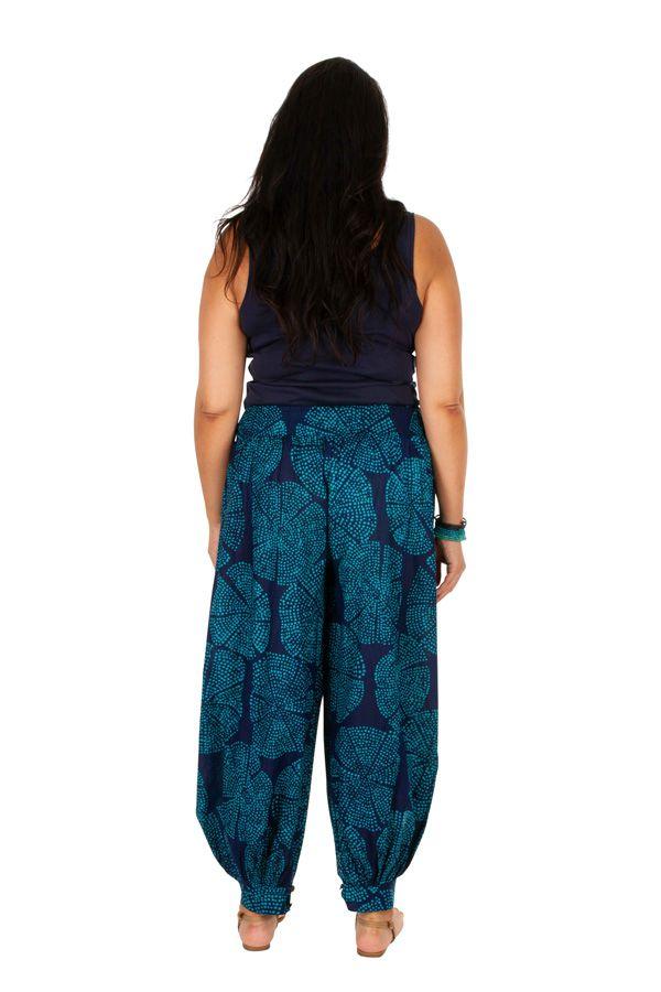 Pantalon fluide et élastiqué bleu grande taille Lynah