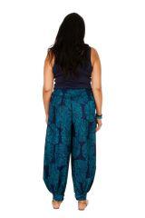 Pantalon fluide et élastiqué bleu grande taille Lynah 306650