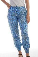 Pantalon Fluide et Exotique d'été pour femme Ethnique Donama Bleu 297774