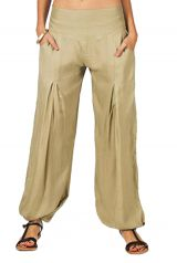 Pantalon fluide et léger pour femme beige Cyril 282605