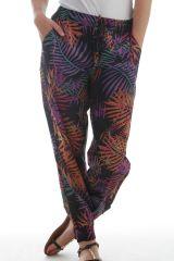 Pantalon fluide pour Femme Coloré aux Imprimés tropicaux Baika 297894