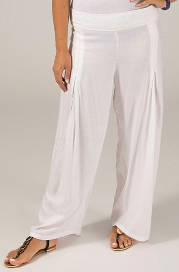 Pantalon Grande taille Ample et Fluide Mina Blanc 317393
