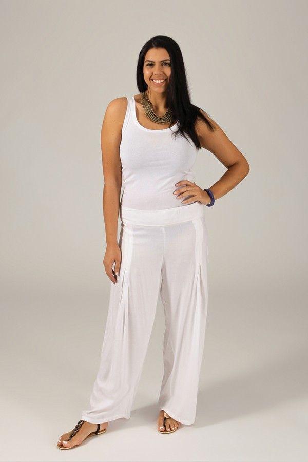 Pantalon Grande taille Ample et Fluide Mina Blanc 317394