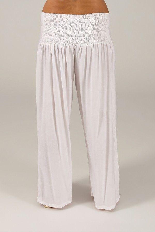 Pantalon Grande taille Ample et Fluide Mina Blanc 317395