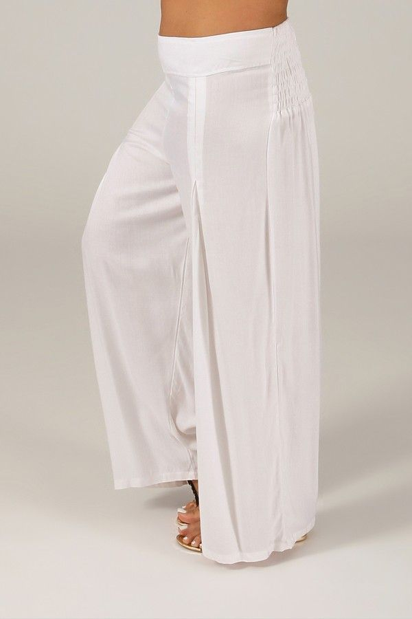 Pantalon Grande taille Ample et Fluide Mina Blanc 317396