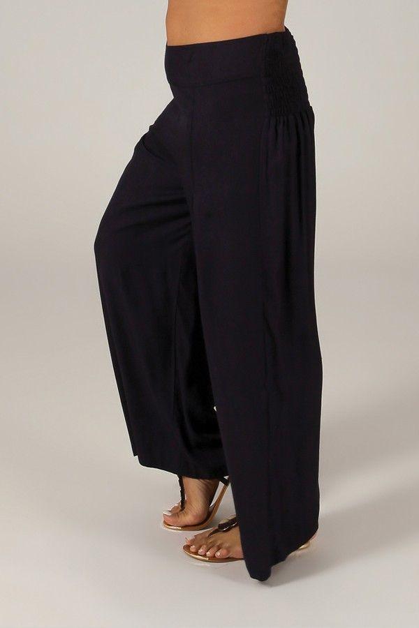 Pantalon Grande taille Ample et Fluide Mina Bleu Marine 317397