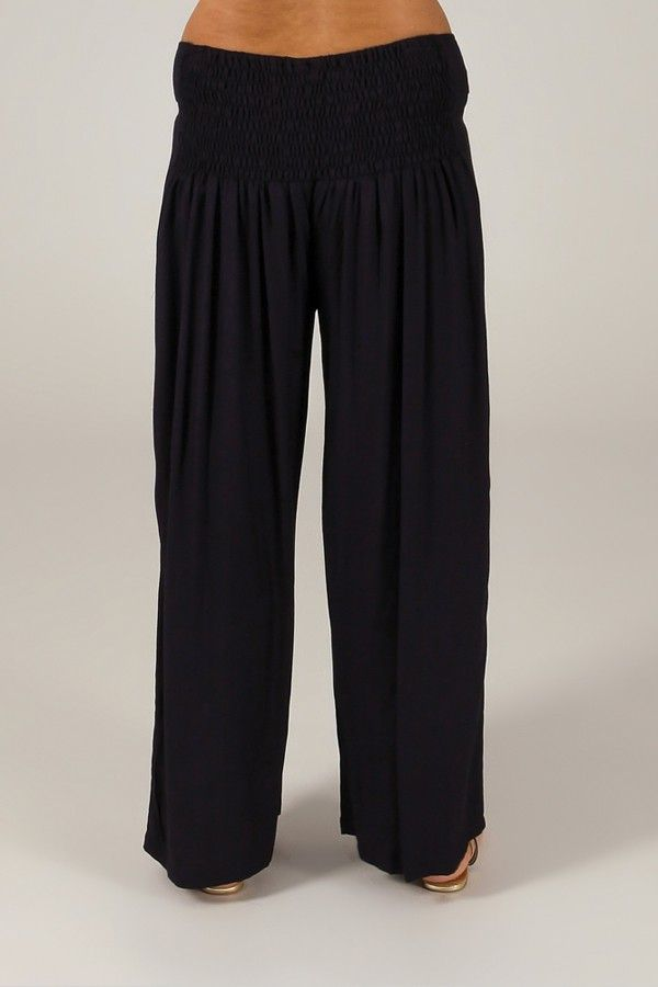 Pantalon Grande taille Ample et Fluide Mina Bleu Marine 317398