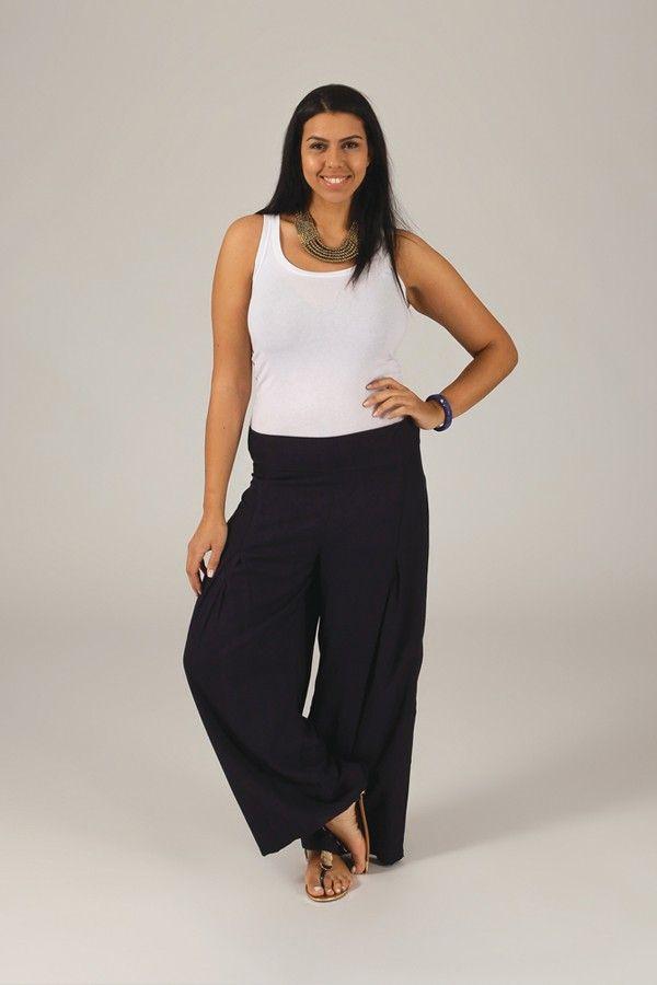 Pantalon Grande taille Ample et Fluide Mina Bleu Marine 317400