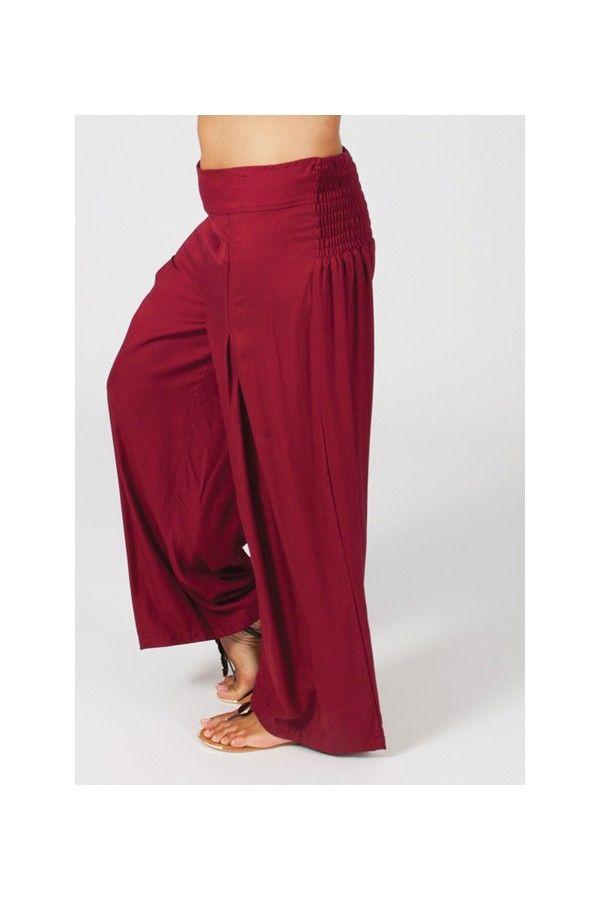 Pantalon Grande taille Ample et Fluide Mina Bordeaux 269549