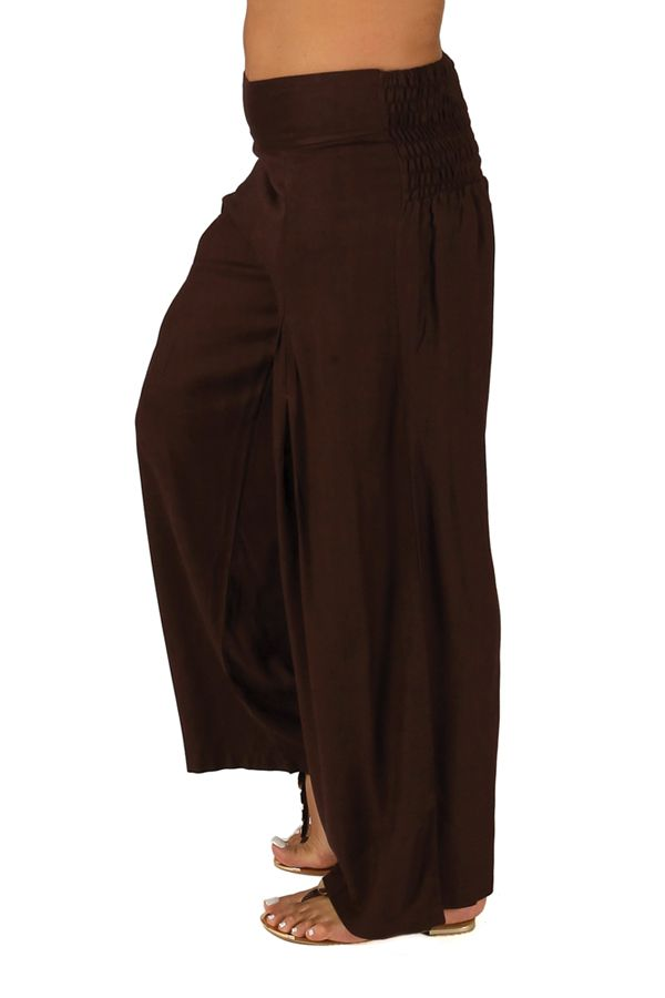Pantalon Grande taille Ample et Fluide Mina Chocolat 283798