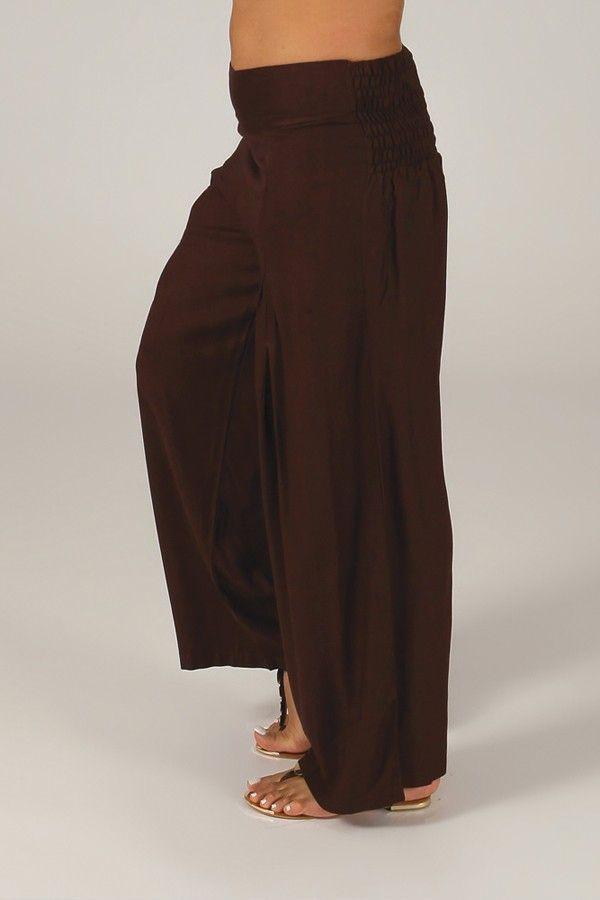 Pantalon Grande taille Ample et Fluide Mina Chocolat 317375