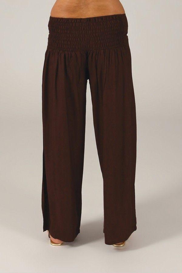 Pantalon Grande taille Ample et Fluide Mina Chocolat 317376