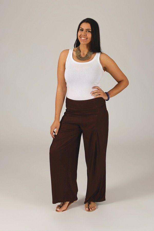 Pantalon Grande taille Ample et Fluide Mina Chocolat 317377