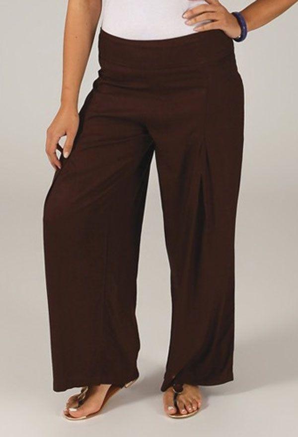 Pantalon Grande taille Ample et Fluide Mina Chocolat 317378