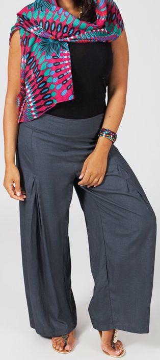 détaillant en ligne 9fc29 6c1e7 Pantalon Grande taille Ample et Fluide Mina Gris