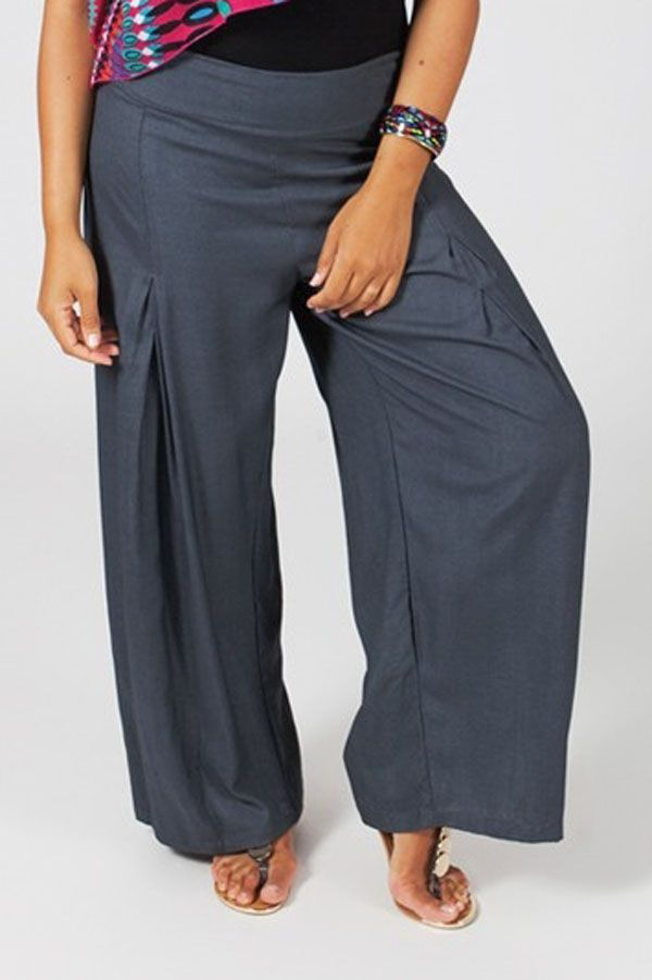 Pantalon Grande taille Ample et Fluide Mina Gris 317404