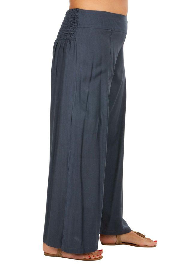 Pantalon Grande taille Ample et Fluide Mina Gris 317406