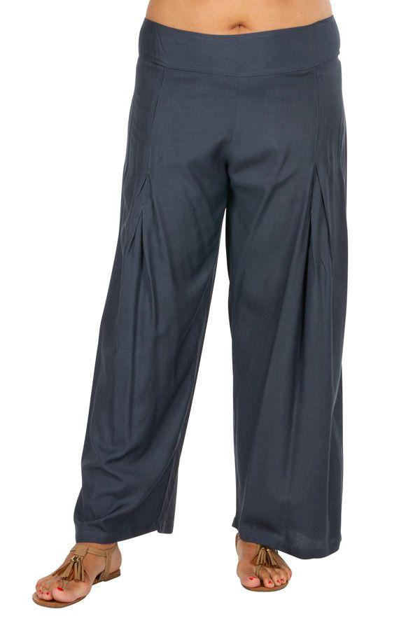 Pantalon Grande taille Ample et Fluide Mina Gris 317407