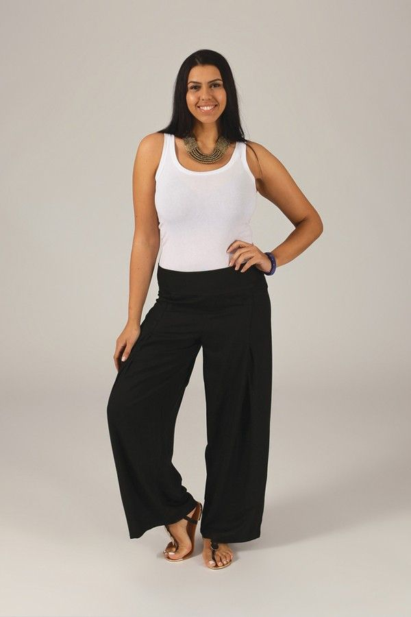 Pantalon Grande taille Ample et Fluide Mina Noir 317389