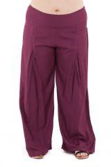 Pantalon Grande taille Ample et Fluide Mina Prune 283816