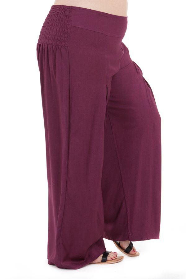 Pantalon Grande taille Ample et Fluide Mina Prune 283818