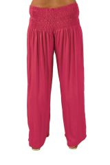 Pantalon Grande taille Ample et Fluide Mina Rose Foncé 283803