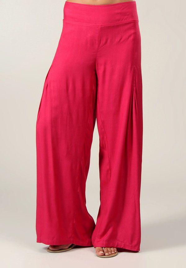 Pantalon Grande taille Ample et Fluide Mina Rose Foncé 317401