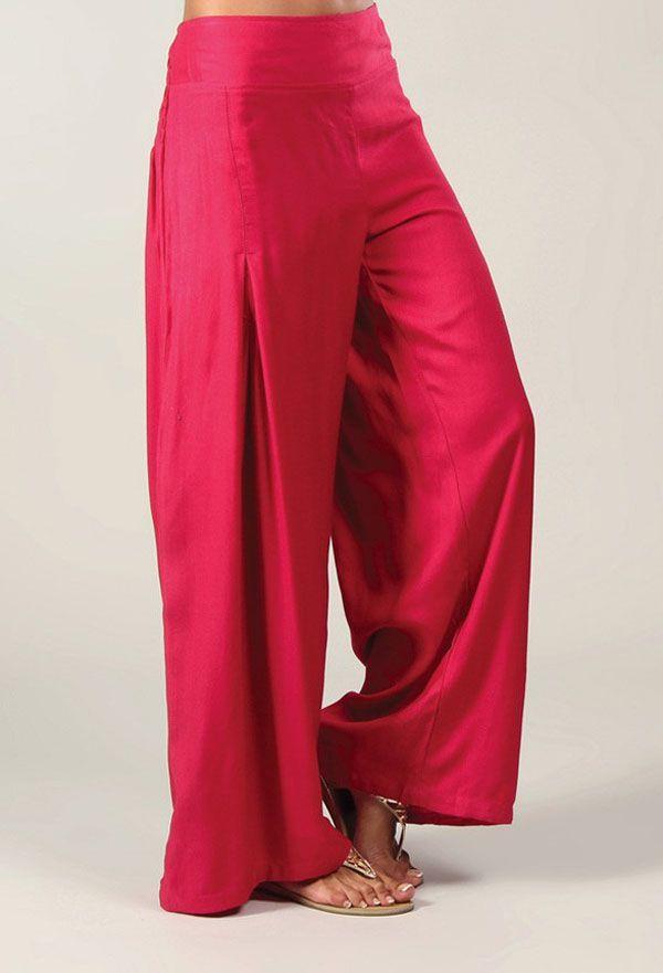 Pantalon Grande taille Ample et Fluide Mina Rose Foncé 317402