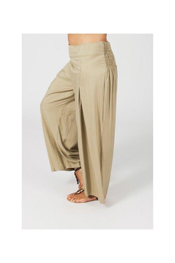 Pantalon Grande taille Ample et Fluide Mina Sable 269562