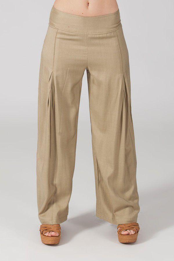 Pantalon Grande taille Ample et Fluide Mina Sable 317383