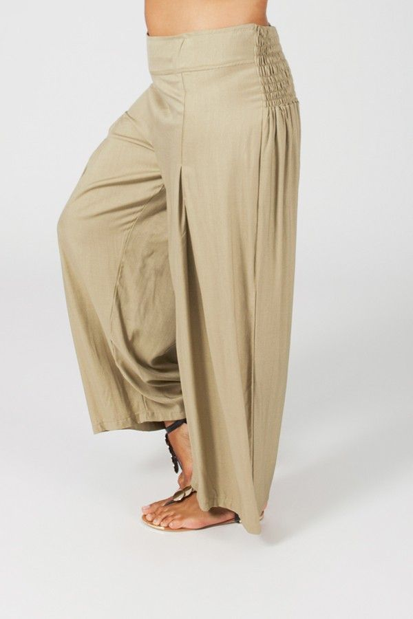 Pantalon Grande taille Ample et Fluide Mina Sable 317384