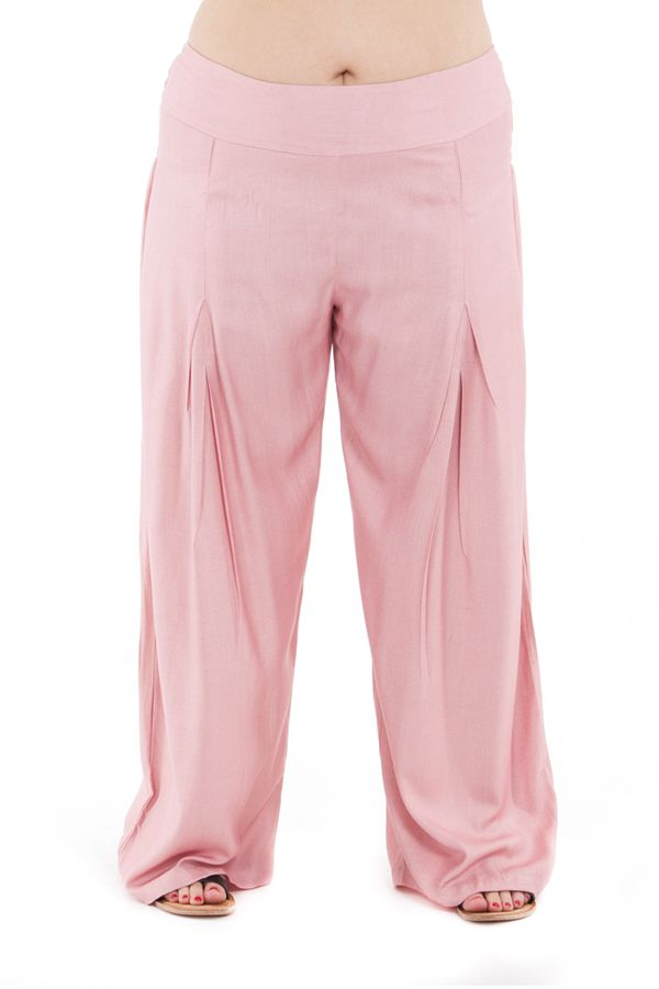 Pantalon Grande taille Ample et Fluide Mina Vieux Rose 283813