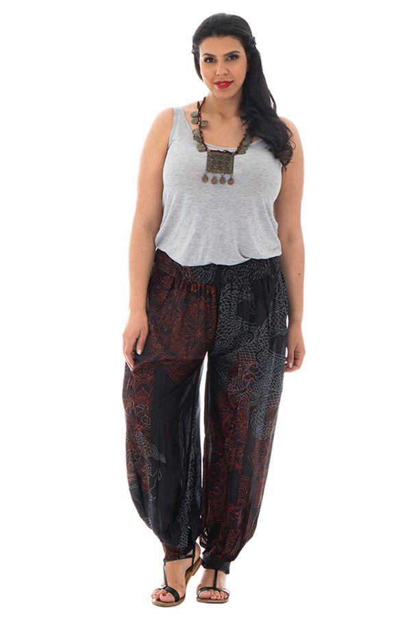 Pantalon grande taille avec imprimés et coupe bouffante Lara 293024