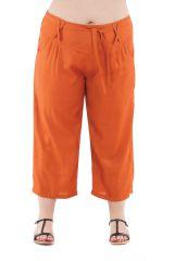 Pantalon grande taille basic coupe 3/4 et smocké rouille Sully 295607