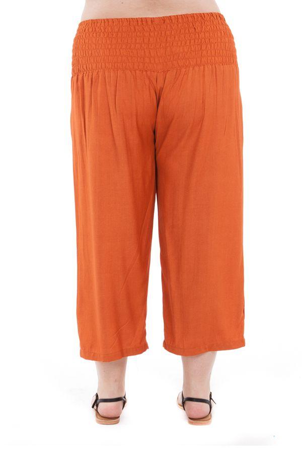 Pantalon grande taille basic coupe 3/4 et smocké rouille Sully 295609